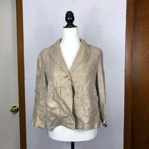 Michael Kors 100% Linen Gold Metallic Jacket Sz 8